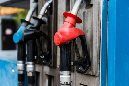 selective focus of gas pumps with fuel on gas station