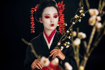 selective focus of beautiful geisha in black kimono with red flowers in hair looking away and sakura branches isolated on black