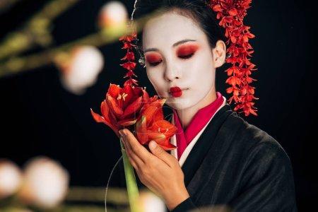 Photo pour Foyer sélectif de la geisha en kimono noir avec des fleurs rouges et des branches de sakura isolées sur noir - image libre de droit