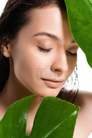 beautiful wet naked young woman with closed eyes holding green leaves with water drops isolated on white
