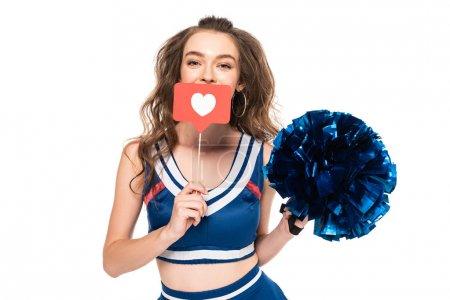Photo pour Pom-pom girl en uniforme bleu tenant pompon et comme signe isolé sur blanc - image libre de droit