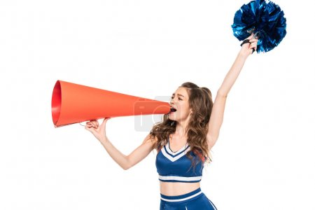 Photo for Cheerleader girl in blue uniform with pompom using orange megaphone isolated on white - Royalty Free Image