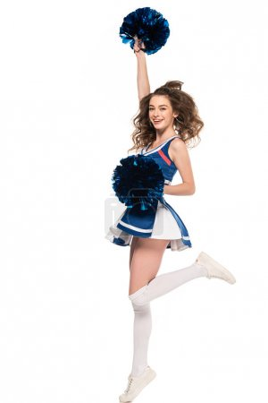 Photo for Sexy happy cheerleader girl in blue uniform jumping with pompoms isolated on white - Royalty Free Image
