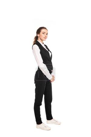 Photo pour Vue pleine longueur de la jeune serveuse dans l'usure formelle isolé sur blanc - image libre de droit