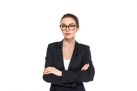 Photo for Young successful businesswoman in black suit and glasses with crossed arms isolated on white - Royalty Free Image