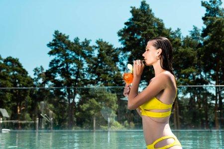 Foto de Hermosa chica en traje de baño beber cóctel en el centro turístico con espacio de copia - Imagen libre de derechos