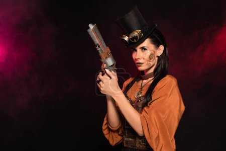 beautiful steampunk woman in top hat holding pistol in pink smoke