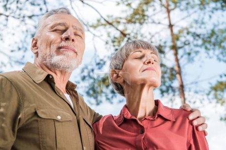 Photo pour Vue inférieure du couple aîné heureux embrassant avec les yeux fermés dans la forêt - image libre de droit