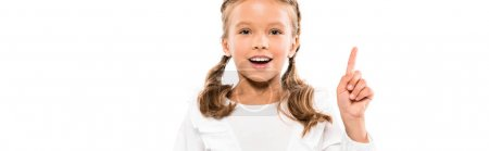 Photo for Panoramic shot of happy kid having idea isolated on white - Royalty Free Image