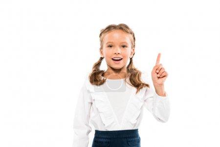 Photo for Happy kid having idea isolated on white - Royalty Free Image