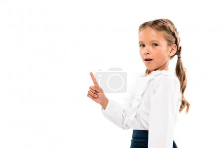 Photo for Adorable kid having idea isolated on white - Royalty Free Image