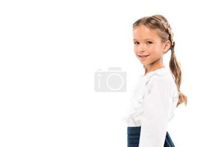 Photo for Happy kid smiling and looking at camera isolated on white - Royalty Free Image