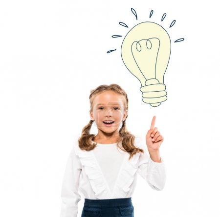 Photo for Happy kid pointing with finger at light bulb while having idea on white - Royalty Free Image