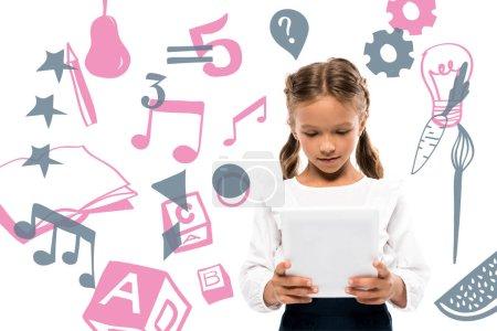 Foto de Cute schoolkid using digital tablet near fruits and music notes on white - Imagen libre de derechos