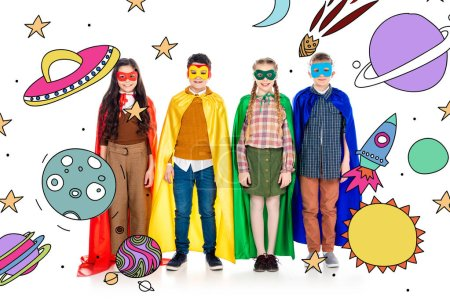happy kids in superhero costumes and masks looking at camera near planets and stars on white