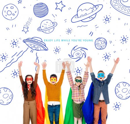 Photo for 1 excited kids in superhero costumes and masks with Raised Hands - Royalty Free Image