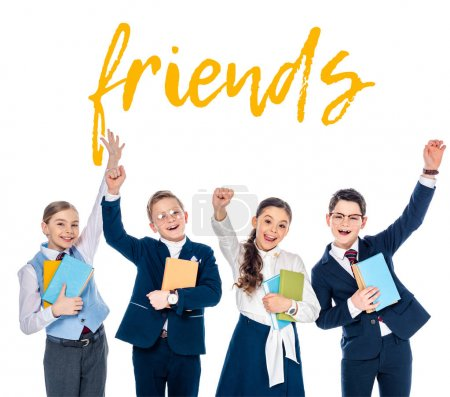Photo for Happy schoolchildren with outstretched hands holding books near friends letters on white - Royalty Free Image