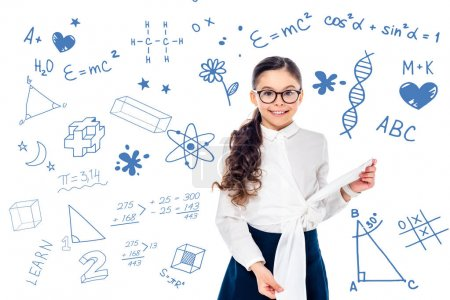 Photo for Smiling schoolgirl in formal wear and glasses looking at camera near mathematical  formulas on white - Royalty Free Image