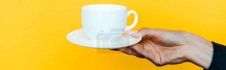 Photo pour Plan panoramique de femme tenant soucoupe et tasse isolée sur orange - image libre de droit