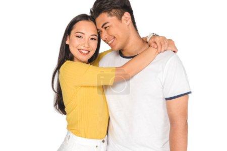 Photo pour Attrayant asiatique fille embrassant beau petit ami isolé sur blanc - image libre de droit