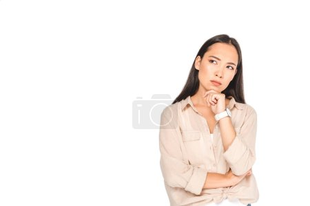 Photo for Thoughtful asian woman holding hand near face and looking away isolated on white - Royalty Free Image