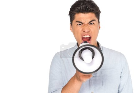 Photo for Aggressive asian man screaming into megaphone while looking at camera isolated on white - Royalty Free Image