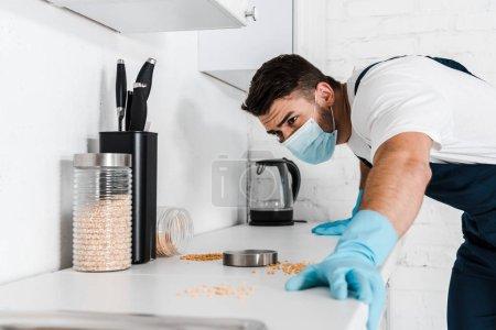 Photo pour Exterminateur restant près de l'armoire de cuisine et regardant la table avec des bocaux - image libre de droit