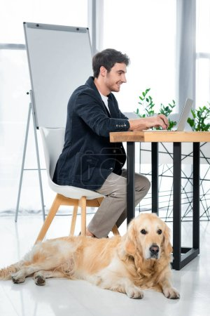 handsome and smiling businessman using laptop and golden retriever lying in office