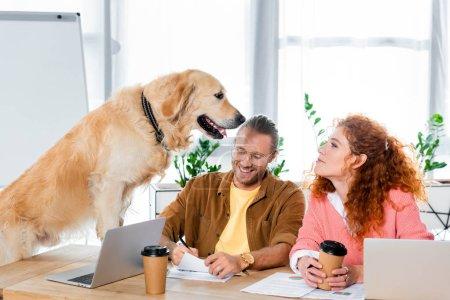 Photo pour Homme d'affaires faisant de la paperasse et femme regardant golden retriever mignon au bureau - image libre de droit