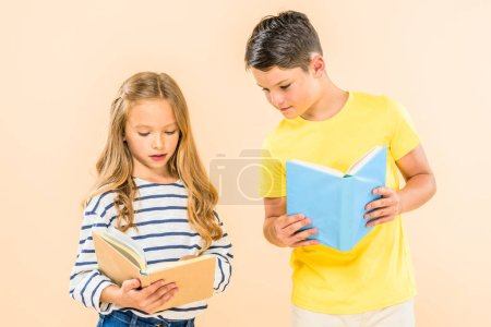 Photo for Two kids in casual clothes reading books isolated on pink - Royalty Free Image