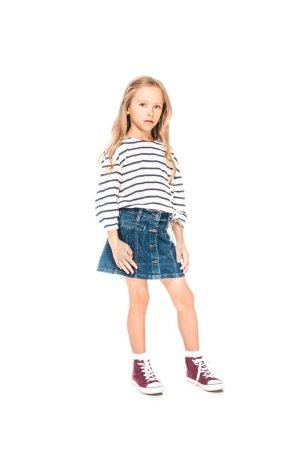 full length view of kid in denim skirt isolated on white