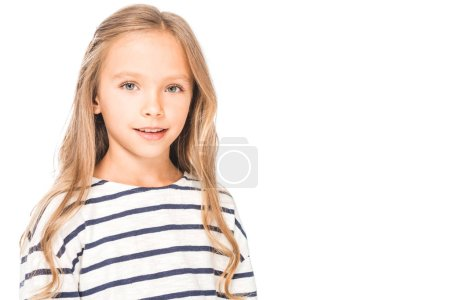 smiling kid in casual outfit isolated on white
