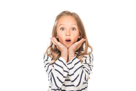 front view of shocked kid in casual outfit isolated on white