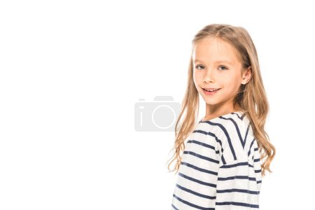 Photo for Smiling kid in casual outfit isolated on white - Royalty Free Image