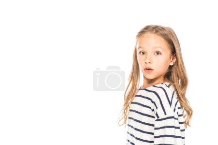 Photo for Surprised kid in casual outfit looking at camera isolated on white - Royalty Free Image