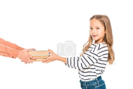 Photo for Partial view of two kids with books isolated on white - Royalty Free Image
