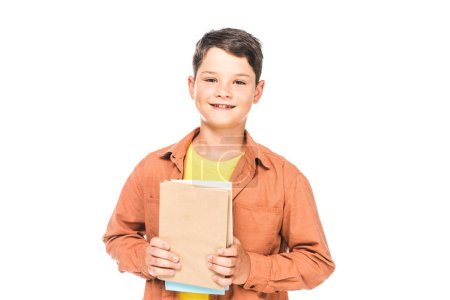 Photo for Front view of smiling kid holding books isolated on white - Royalty Free Image