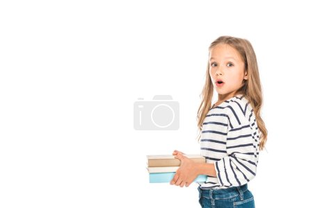 Photo for Shocked kid holding books with open mouth isolated on white - Royalty Free Image