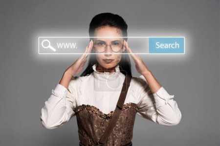 Photo pour Steampunk woman touching glasses behind search bar digital illustration isolated on grey - image libre de droit