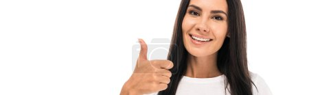 Photo for Panoramic shot of happy woman showing thumb up isolated on white - Royalty Free Image