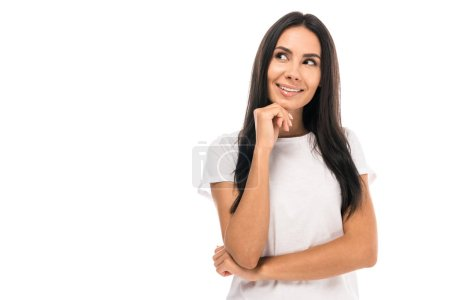 happy and dreamy woman isolated on white