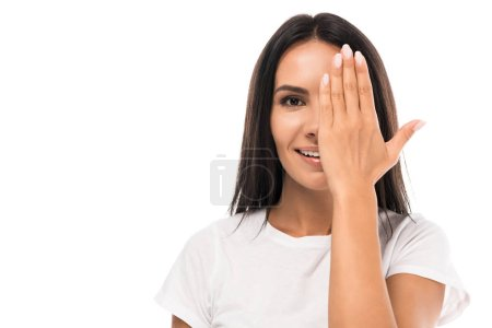 Photo pour Happy woman covering face isolated on white - image libre de droit