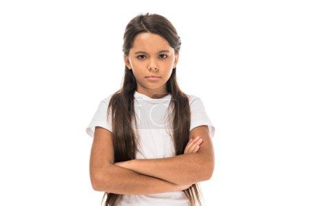 Photo pour Triste enfant debout avec les bras croisés isolé sur blanc - image libre de droit