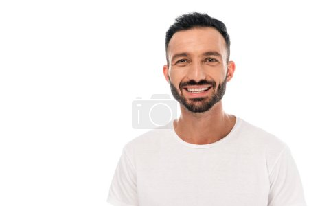 Photo for Happy bearded man smiling isolated on white - Royalty Free Image