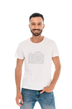 happy bearded man standing with hand in pocket isolated on white