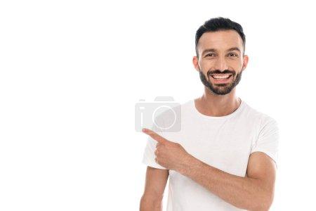 Photo pour Homme positif pointant avec le doigt isolé sur blanc - image libre de droit