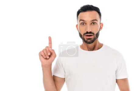Photo for Shocked and bearded man pointing with finger isolated on white - Royalty Free Image