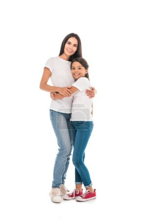 Photo for Happy mother and daughter hugging isolated on white - Royalty Free Image