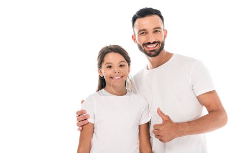Photo for Happy father hugging cute kid and showing thumb up isolated on white - Royalty Free Image