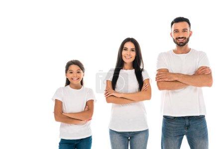 Photo pour Heureux parents et enfant debout avec les bras croisés isolé sur blanc - image libre de droit